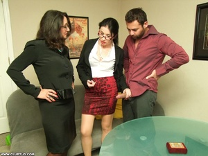 Two sexy secretaries help man caught mas - XXX Dessert - Picture 8