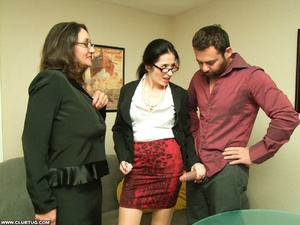 Two sexy secretaries help man caught mas - XXX Dessert - Picture 9