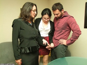 Two sexy secretaries help man caught mas - XXX Dessert - Picture 10