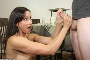 Horny bitch exposes tits and gets on kne - XXX Dessert - Picture 7