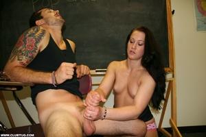 Teacher jerks of guy's big cock in front - XXX Dessert - Picture 12
