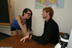 Innocent looking cock grabber in glasses - XXX Dessert - Picture 1
