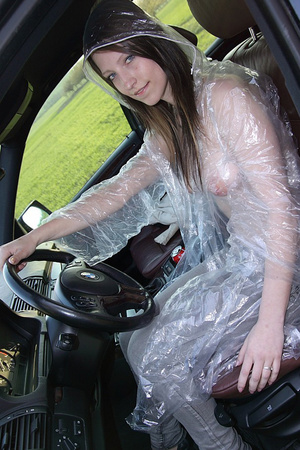 Teen Suzie in rain coat likes warm cum b - XXX Dessert - Picture 2
