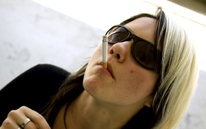 Teen Aneta in sunglasses smokes while li - XXX Dessert - Picture 6