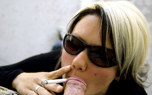Teen Aneta in sunglasses smokes while li - XXX Dessert - Picture 7