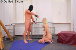 Blonde girl on a leash gets her ready to - XXX Dessert - Picture 7