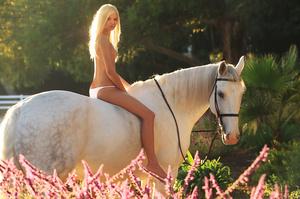 Blonde naked Francesca riding white hors - XXX Dessert - Picture 3