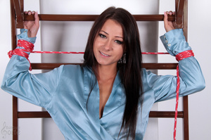 Naked brunette is brutally bound and spr - XXX Dessert - Picture 3