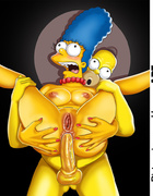Slutty Marge Simpson masturbating when Homer is out