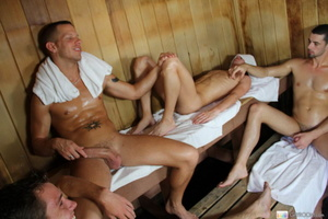 Four guys having fun on the bath house a - XXX Dessert - Picture 3