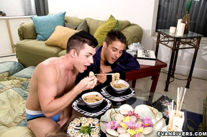 Gay couple digresses from meal to lickin - XXX Dessert - Picture 4