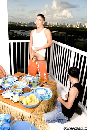After a sumptuous meal, three gay boys e - XXX Dessert - Picture 4