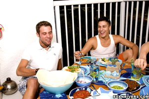 After a sumptuous meal, three gay boys e - XXX Dessert - Picture 5