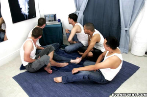 Dick wanking party as five friends helps - XXX Dessert - Picture 1