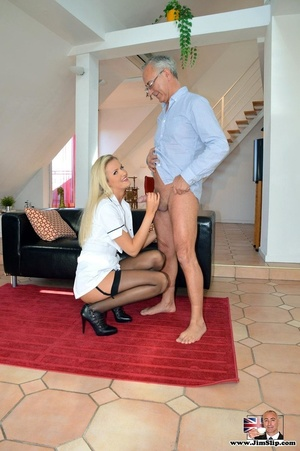 Cock hungry blonde sucks thick cock befo - XXX Dessert - Picture 2