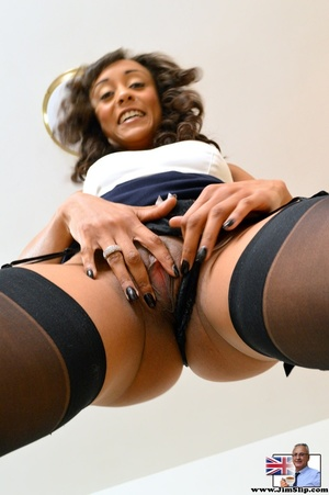 Cute chocolate ebony babe sucks on cock  - XXX Dessert - Picture 13