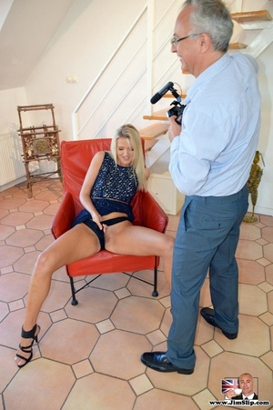Tall sexy chick spreads legs to play wit - XXX Dessert - Picture 14