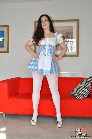 Hot sexy chick in short dress and pantyh - XXX Dessert - Picture 6