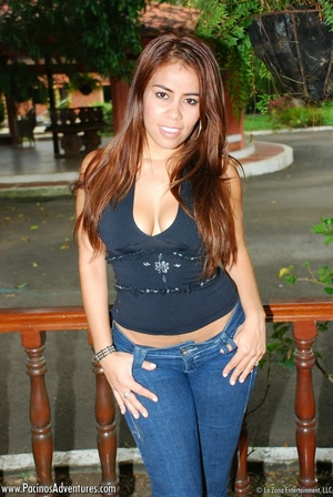 Sexy chick with long hair in jeans, stri - XXX Dessert - Picture 6