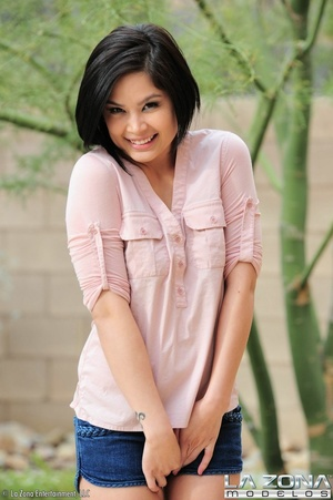 Smiling babe with black hair and creamy  - XXX Dessert - Picture 3