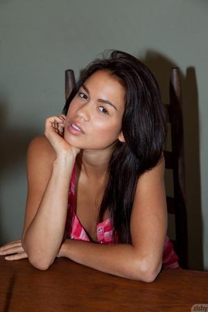 Sexy brunette Rebecca posing in striped  - XXX Dessert - Picture 1
