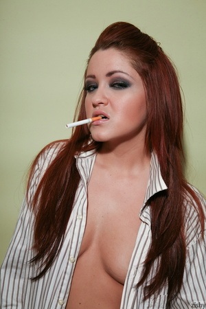 Red Teeny Jeska in a shirt and with a ci - XXX Dessert - Picture 2
