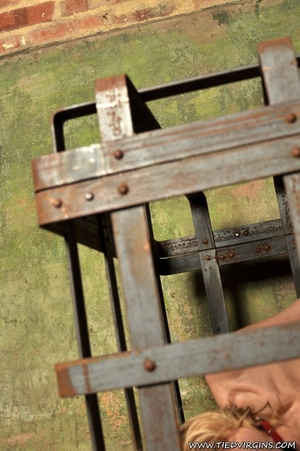 Blonde virgin slut pleads with her eyes as she is gagged, bound, and locked inside a lattice crate - XXXonXXX - Pic 5