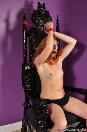 Bound and gagged red haired cutie looks so hot and sexy as she squirms against her binds on athrone - XXXonXXX - Pic 1