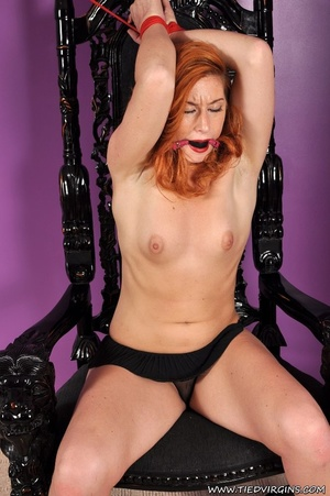 Bound and gagged red haired cutie looks so hot and sexy as she squirms against her binds on athrone - XXXonXXX - Pic 2