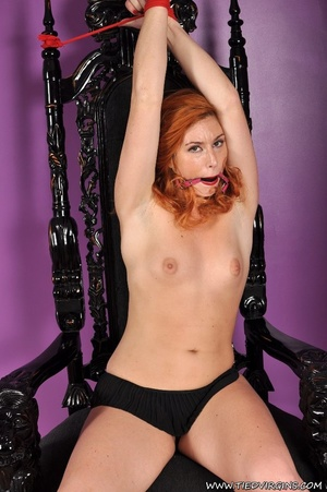 Bound and gagged red haired cutie looks so hot and sexy as she squirms against her binds on athrone - XXXonXXX - Pic 3