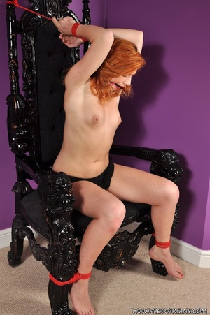 Bound and gagged red haired cutie looks so hot and sexy as she squirms against her binds on athrone - XXXonXXX - Pic 4