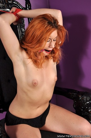 Bound and gagged red haired cutie looks so hot and sexy as she squirms against her binds on athrone - XXXonXXX - Pic 5