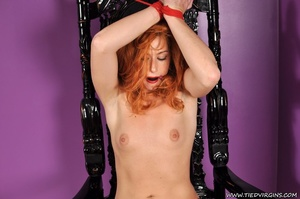 Bound and gagged red haired cutie looks so hot and sexy as she squirms against her binds on athrone - XXXonXXX - Pic 9