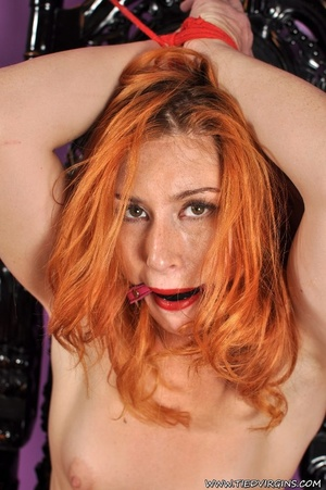 Bound and gagged red haired cutie looks so hot and sexy as she squirms against her binds on athrone - XXXonXXX - Pic 10