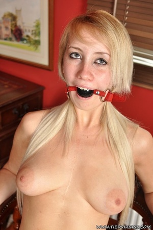 Lusty blonde bimbo gets to be bound on a chair, ball gagged and enjoying the arousing feeling - XXXonXXX - Pic 6