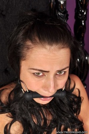 worried and gagged busty