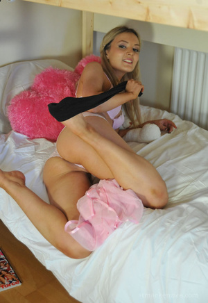 Lovely blonde coed teases by stripping h - XXX Dessert - Picture 8