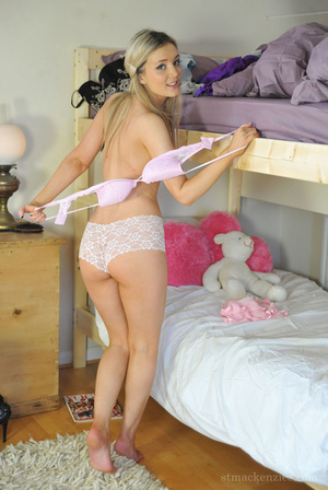 Lovely blonde coed teases by stripping h - XXX Dessert - Picture 10