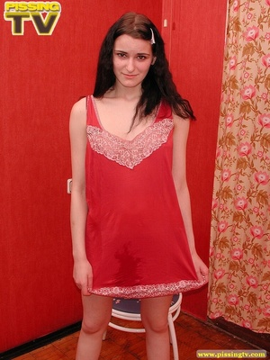 Bitchy brunette temptress wearing a sexy red dress strips, shows her sweet wet juicy in every possible position then takes a piss on the chair - XXXonXXX - Pic 13