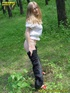 Horny daring blonde teen pulls down her pants in the forest then takes