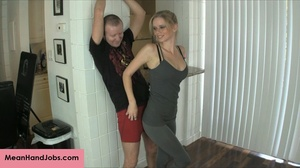A mean blonde bitch ties up a guy then t - XXX Dessert - Picture 1