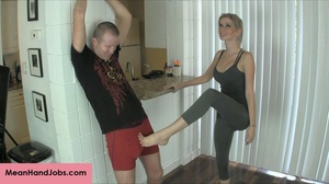 A mean blonde bitch ties up a guy then t - XXX Dessert - Picture 2