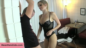 A mean blonde bitch ties up a guy then t - XXX Dessert - Picture 5