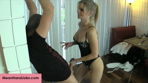 A mean blonde bitch ties up a guy then t - XXX Dessert - Picture 14