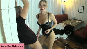 A mean blonde bitch ties up a guy then t - XXX Dessert - Picture 15