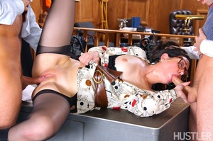 Lovely brunette beauty enjoys a threesom - XXX Dessert - Picture 9