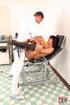 Horny half naked brunette gives examiner a slurpy blowjob and then gets