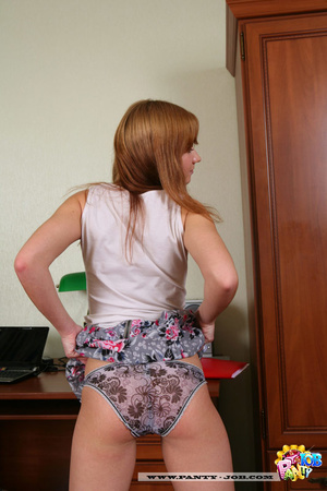 She pulls aside her thong crotch to expo - XXX Dessert - Picture 3