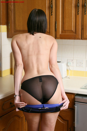 Cute brunette babe undresses in the kitc - XXX Dessert - Picture 8