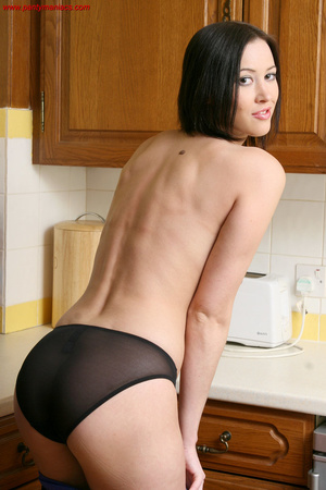 Cute brunette babe undresses in the kitc - XXX Dessert - Picture 9